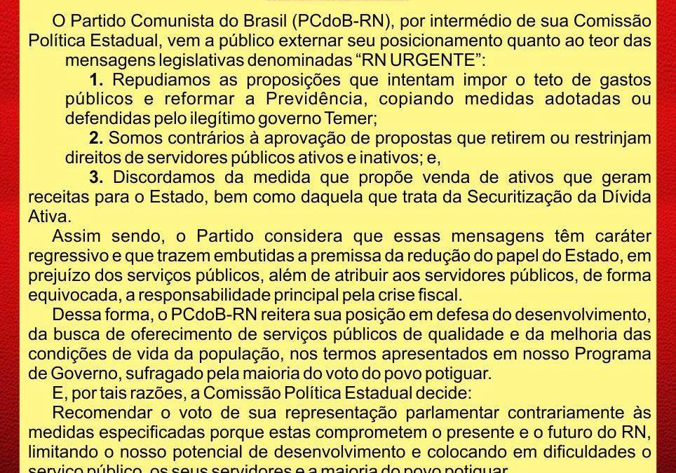 Direção do PCdoB-RN divulga nota sobre situação no estado